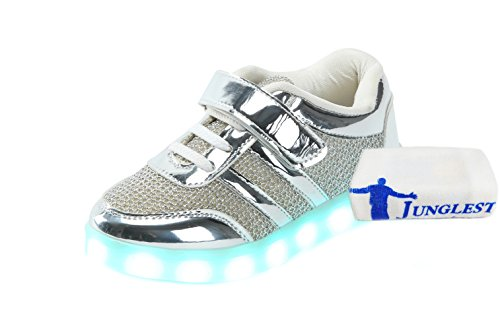 [Presente:pequeña toalla]JUNGLEST® Unisex 7 Colors USB Carga LED Luz Luminosas Flashing Sneakers Altotop Zapatos Zapatillas de Depo c8