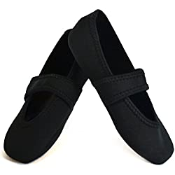 Nufoot Betsy Lou Fuzzies Women's Shoes, Best Foldable & Flexible Flats, Slipper Socks, Travel Slippers & Exercise Shoes, Dance Shoes, Yoga Socks, House Shoes, Indoor Slippers, Black, Medium