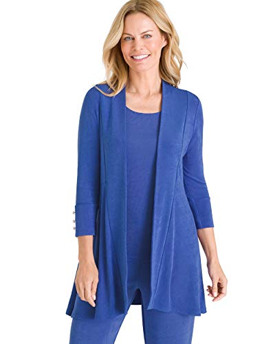 (Chico's Women's Travelers Classic Button-Sleeve Jacket Size 16/18 XL (3) Blue)