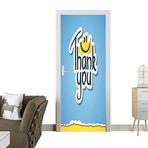 Door Sticker Doodle Blue Striped Typographic Thanksgiving Torn Paper Look Image Accessories Removable Door Decal for Home DecorW35.4 x H78.7 INCH ()
