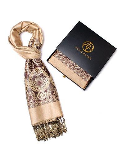 Blue Leopard Satin (Alice Blake Premium Metallic Paisley Pashmina Scarf Shawl Wrap Free Gift Box)