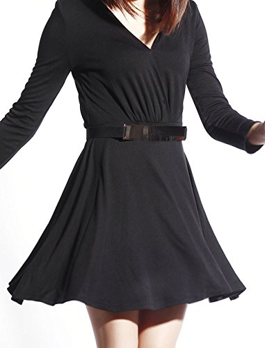 Wrap Dress Catwalk88 Womens Skater Belted V Sleeve Long Neck wYwFUCq
