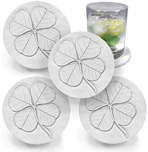 Drink Coasters by McCarter Coasters, Clover, Shamrock, Irish Absorbent, Light Beige 4.25 inch (4pc)