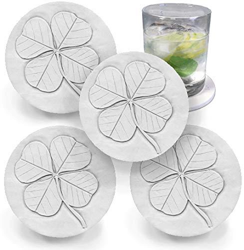 Drink Coasters by McCarter Coasters, Clover, Shamrock, Irish Absorbent, Light Beige 4.25 inch (4pc) -