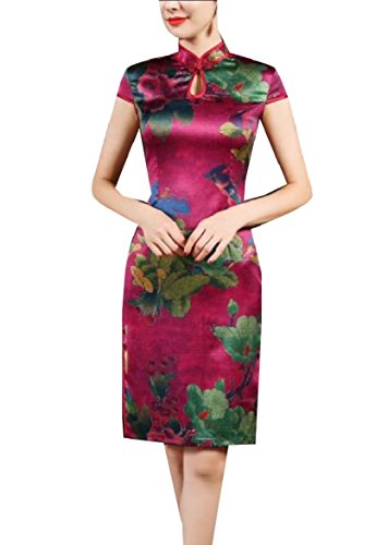 Coolred-Women Vintage Floral Print Silk Charmeuse Tunic Cheongsam Dress Wine Red ()