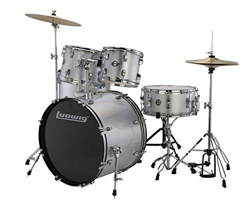 """Ludwig 5 Piece Accent """"Drive"""" Drum Set (Silver Foil)"""