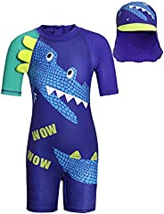 MetCuento Kids Boys Girls Swimsuit One Piece Rash Guard Short Sleeve Bathing Suits with Hat UPF 50+ Sun Protec