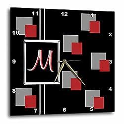 3D Rose dpp_215230_2 3dRose Modern Geometric Black Red Grey Square Pattern Monogram Letter M-Wall Clock 13-inch (2)