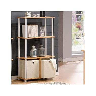 Furinno NW889BE/WH Go Green 4-Tier Multipurpose Storage Rack w/Bins, Beech/White