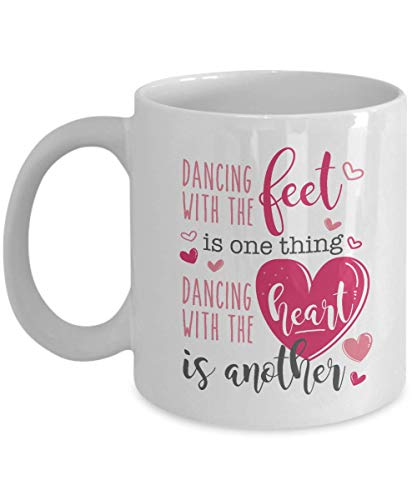 Dancing With The Heart Competitive Dance Themed Coffee & Tea Gift Mug & Accessories For Girls & Women Dancers Who Join Ballroom, Acro, Ballet, Jazz, Hip Hop & Modern Dance Competition (11oz)