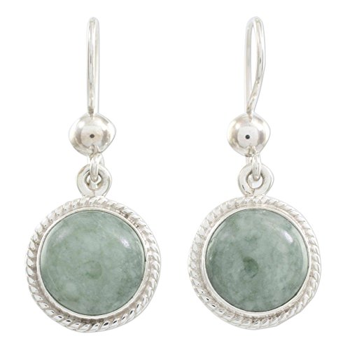 - NOVICA Green Jade and .925 Sterling Silver Round Dangle Earrings, Mixco Moon'
