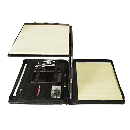 Professional Portfolio Organizer with Folding Center Panel Genuine Goatskin Leather Compact Padfolio Case for NEW iPad Pro 9.7''12.9''/10.5'', Surface Pro (NEW iPad Pro 10.5) by Hifriend