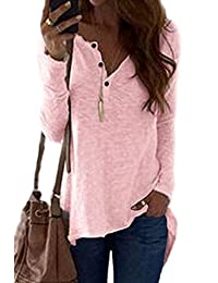 Women Casual Long Sleeve V Neck Button Down Loose Perspective T-Shirt Blouse Top Tee