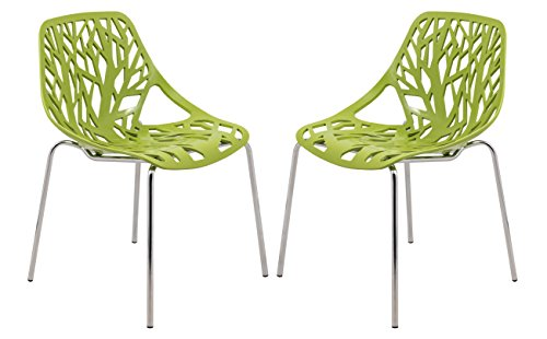 LeisureMod Forest Modern Side Dining Chair with Chromed Legs in Green, Set of 2