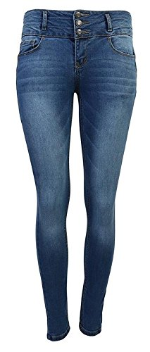 Blue Rise Mid Jeans - Wax Women's Juniors Body Flattering Mid Rise Skinny Jeans Medium Blue 1