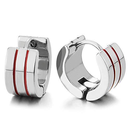Pair Unisex Mens Womens Stainless Steel Grooved Huggie Hinged Hoop Earrings with Red Enamel