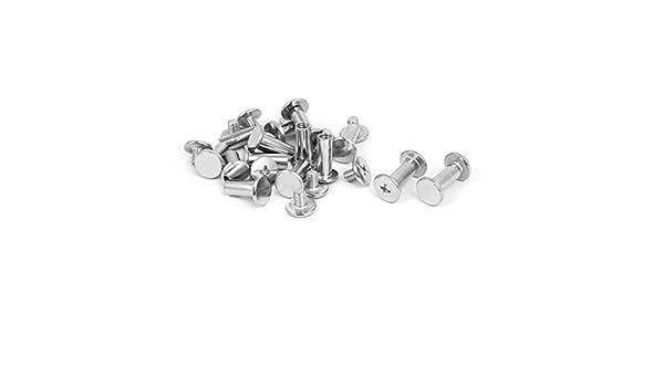 uxcell Album Menu Iron Binding Chicago Screw Posts Nuts Silver Tone 5x12mm 14pcs US-SA-AJD-267805