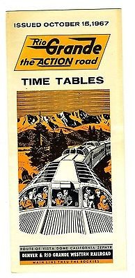 Timetables Railroad (Rio Grande Railroad Time Table Route Map 1967 The Action Road California Zephyr)