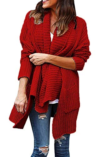 Women's Long Sleeve Knitted Cardigan Sweaters Outerwear Open Front Two Pockets Medium Red ()