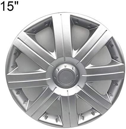 車のホイールカバーユニバーサルフィットハブキャップ車のホイールハブ装飾カバーABSシルバーホイールトリムハブキャップカバープロテクター高衝撃プラスチック簡単な取り付け
