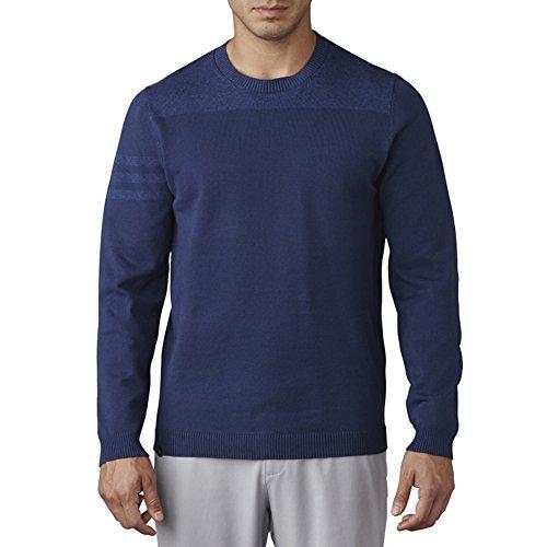 adidas Golf Men's Adi 3 Stripe Crewneck Sweater, St Dark Slate, (Crew Golf Sweater)