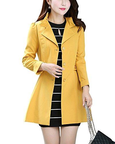 Mujer Solapa Chaqueta Larga Elegante Abrigo Trench Doble Botones Jacket Amarillo