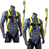 KwikSafety (Charlotte, NC) SCORPION (2 PACK) Safety Harness w/attached 6ft. Tubular Lanyard on back | OSHA ANSI Fall Protection | INTERNAL Shock Absorbing Lanyard | Construction Carpenter Scaffolding