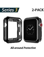 YoLin Apple Watch Series 3 Schutzhülle, iwatch Case Weiche Ultradünne TPU iwatch Displayschutz All-Around Hülle für Apple Watch Serie 3 42mm (1 Silber + 1 Transparent)