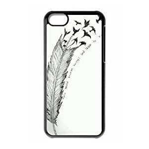 Feather Quote Fly Brand New Cover Case for Iphone 5C,diy case cover ygtg616451
