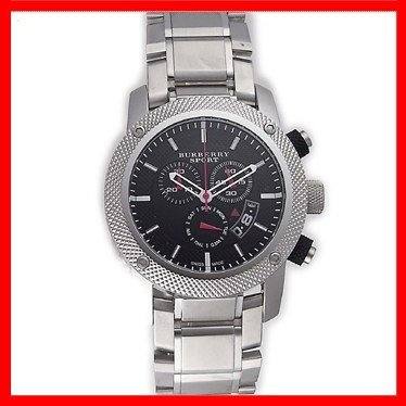 SALE! Authentic Burberry Sport Swiss Chronograph Watch Unisex Men Stainless Steel Black Date Dial - Sale Men For Burberry