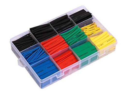 Ginsco 530 Pcs 2:1 Heat Shrink Tubing Tube Sleeving Wrap Cable Wire 5 Color 8 Size Storage Case