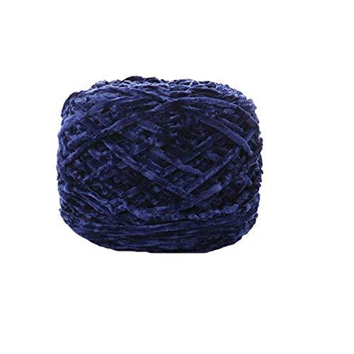- Clisil 8 oz/250g Chenille Yarn,DIY Velvet Chenille Yarn,Bulky Luxury Navy Blue Chenille Yarn for Crochet Hat Scarf