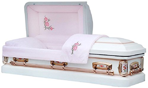 [Funeral Casket - PrimRose White Shade with Silver Rose Finish 18 Gauge Metal Casket - Coffin] (Full Couch Caskets)