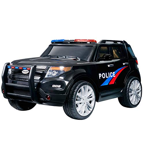 Uenjoy 12V Kids Police Ride on Car Electric SUV Car Battery Powered Motorized Vehicles W/ Remote Control, 2 Speeds, AUX, Sirens & LED Light, Black]()