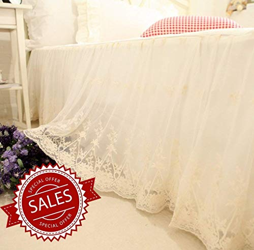 (Brandream Queen Size Luxury White Lace Bed Skirt 18 Inch Drop Romantic Girls Bed Sheets Elegant Teen Skirted Sheet)