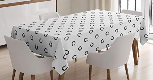 Tablecloth, Repeated Pattern Lucky Charm Talisman Traditional Belief Geometric Design, Dining Room Kitchen Rectangular Table Cover, 60 W X 84 L Inches, Black and White ()