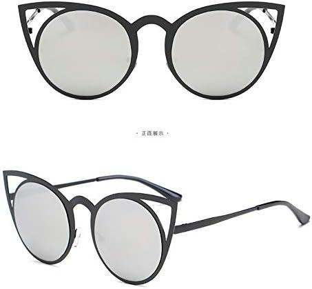 WSKPE Sonnenbrille,Meine Damen Cat Eye Sonnenbrille Metal Hell Hohlen Street Beat Sonnenbrille Black Frame Lens