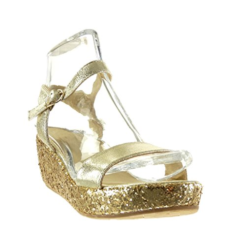 Angkorly - Zapatillas de Moda Sandalias Mules zapatillas de plataforma mujer tanga brillante brillantes Talón Plataforma 6 CM - Oro