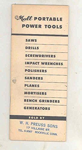 1952 Mall Tool Company Portable Power Tools Catalog Book