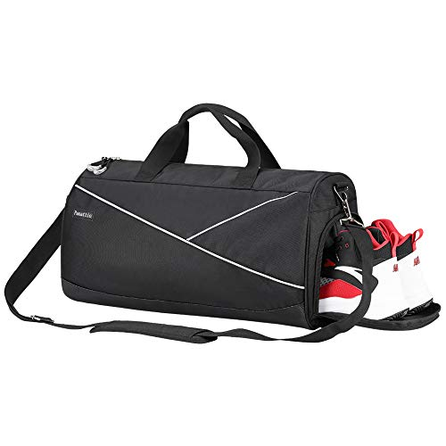 Sports Gym Duffel Bag with Shoes Compartment and Wet Separated Pocket, Travel Gym Holdall Bag for Men and Women Yoga Training Bag Weekend Overnight Tote Bag Waterproof, Black
