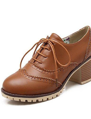 GGX/ Zapatos de mujer-Tacón Robusto-Tacones / Punta Redonda-Tacones-Oficina y Trabajo / Casual-PU-Negro / Amarillo / Beige , yellow-us10.5 / eu42 / uk8.5 / cn43 , yellow-us10.5 / eu42 / uk8.5 / cn43 black-us8 / eu39 / uk6 / cn39