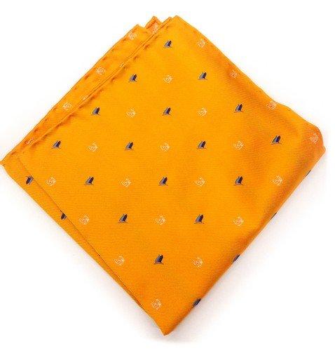 véritable de luxe NapoliReal Luxury Napoli poche Mouchoir Conçu de poche sur mesure en soie oOrange clair avec Motif ancres Bblanches et drapeaux bBleus Drapeaux
