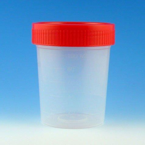Globe Scientific 5915 Polypropylene Specimen Container with Separate Red 1/4 Turning Screw Cap, Non-Sterile, Bulk, Graduated, 4oz Capacity (Case of 500)