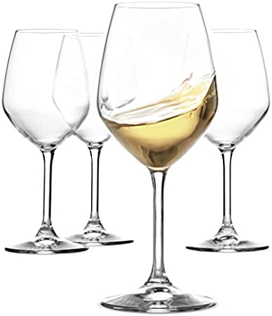 Made in Italy, this exquisite 4 piece, 15 oz wine glass set by Paksh Novelty feature luxurious and l