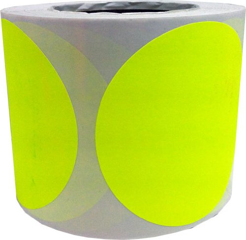 4 Inch Round Blank Fluorescent Yellow Shooting Target Pasters | 500 Adhesive Target Dots