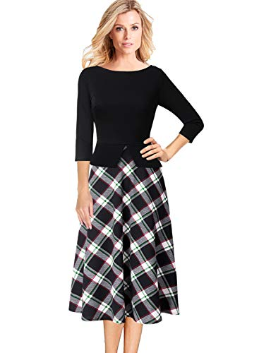 - VFSHOW Womens Tartan Print Peplum Business Casual Church A-Line Midi Dress 2096 BLK XS