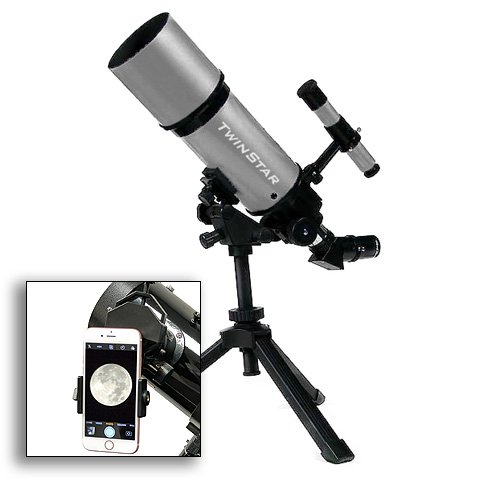 AstroVenture Silver Portable 80mm Refractor Telescope With Universal Smartphone Camera Adapter by Twin Star