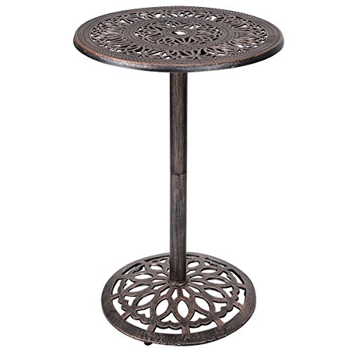 "Cheap  Costway Cast Aluminum Bar Table 41"" Vintage Round Outdoor Patio Bistro Table"