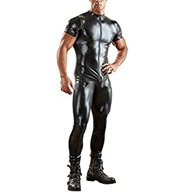 - 41lwnQ5FPYL - YiZYiF Sexy Men's Wet Look Leather Bodysuit Leotard Zipper Zentai Catsuit Costume