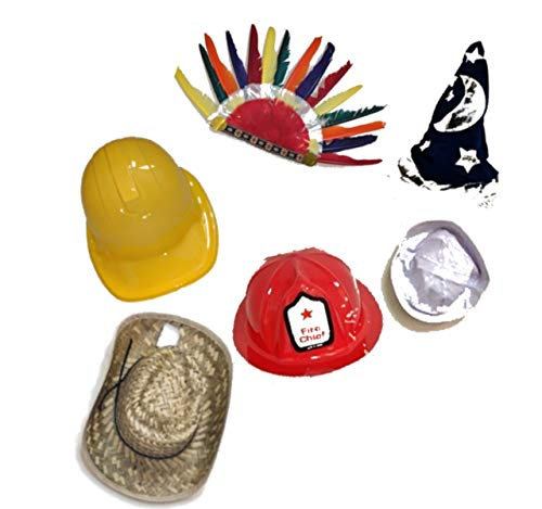 Funny Dress Up and Role Play Costume Hats for Kids - Includes a Felt Wizard Hat Plus 4 Random Crazy Hats for Crazy Hat Day, Birthday Party Fun, and Pretend Play Costumes for $<!--$20.99-->